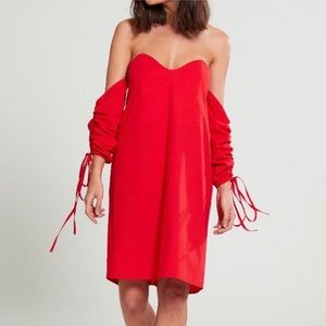ASOS Neon Rose Ruched Off The Shoulder Dress Red S